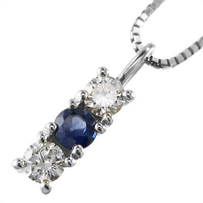 超高品質で人気の サファイア(青) 天然ダイヤモンド チェーンペンダント 3石 18金ゴールド (ホワイト イエロー ピンク), 大和文庫 afabfa1a