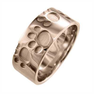 最新人気 猫 スタンダード 平打ち指輪 18金ゴールド 約7mm幅 厚さ約1.4mm 肉球足跡リング (ホワイト イエロー ピンク), 生活雑貨 ココ笑店 dcc6e524