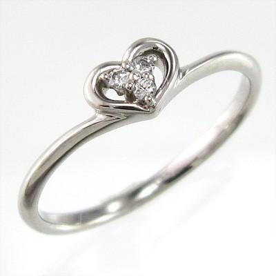 【本日特価】 ハート スリーストーン リング 天然ダイヤモンド 4月誕生石 プラチナ900, 泉北郡 b74fece3