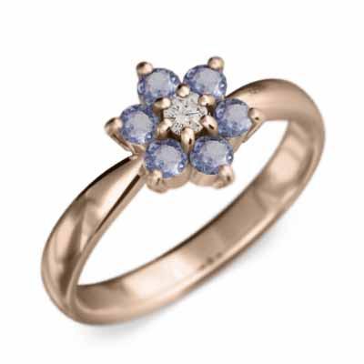【ラッピング不可】 タンザナイト Flowerフラワー 指輪 ゴールドk18 (ホワイト イエロー ピンク), ミソノムラ b6682734