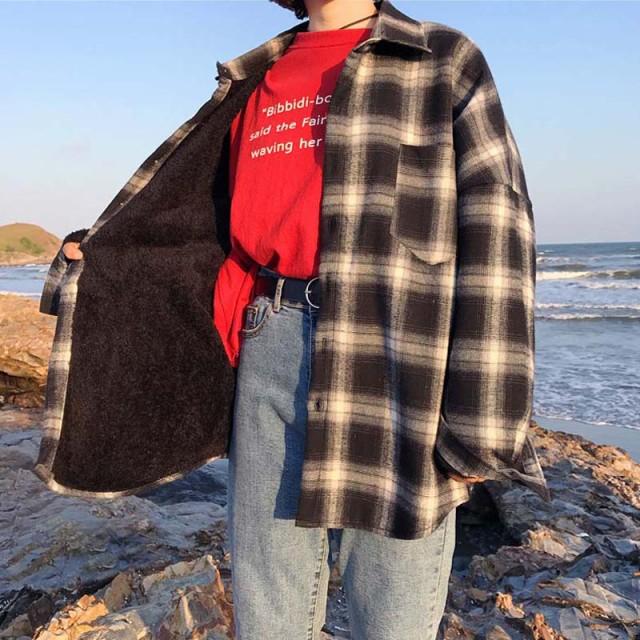 レディスファッション アウター その他アウター シャツジャケット 秋冬 防寒 長袖 チェック柄 レッド ブラック
