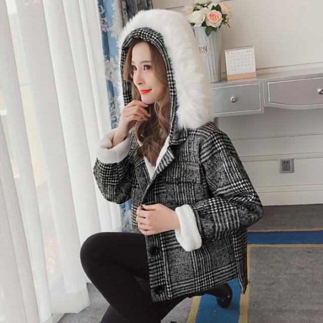 フード付ウールジャケット レディース アウター ブルゾン コート タータンチェック ボア シック カジュアル 可愛い 秋冬