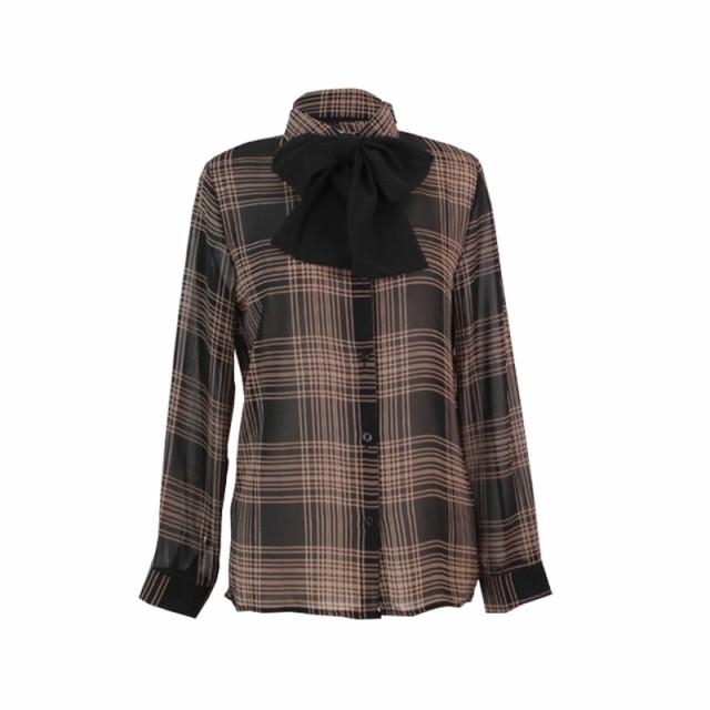 シャツ ブラウス チェック 長袖 リボン トップス とろみ ブラック ベージュ レディース ファッション
