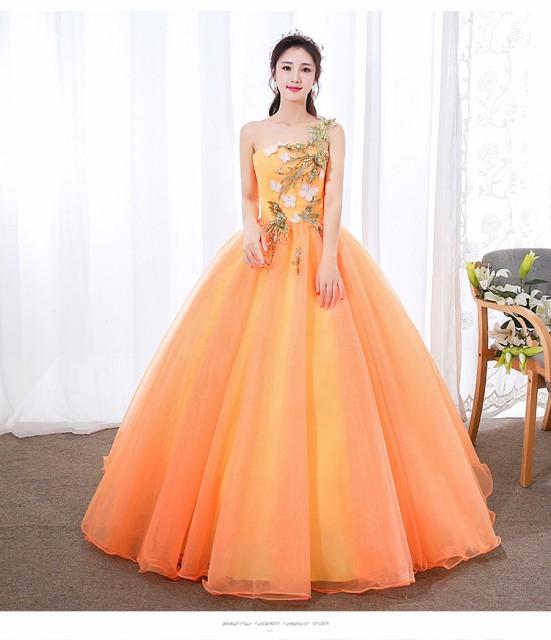 9bd6faf99688e レディース ロングドレス カラードレス プリンセスライン フラワー 花 ワンショルダー パーティ 結婚式 披露宴 演奏