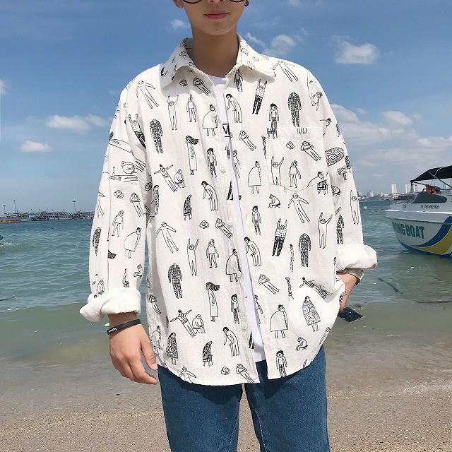 メンズファッション トップス カジュアルシャツ 長袖 イラストプリント