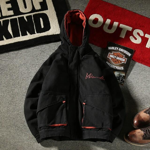 80fa415bc98160 メンズ アウター・ジャケット・コート フード付き コットン ジップアップ ブラック カーキ 中綿 ポケット 刺繍