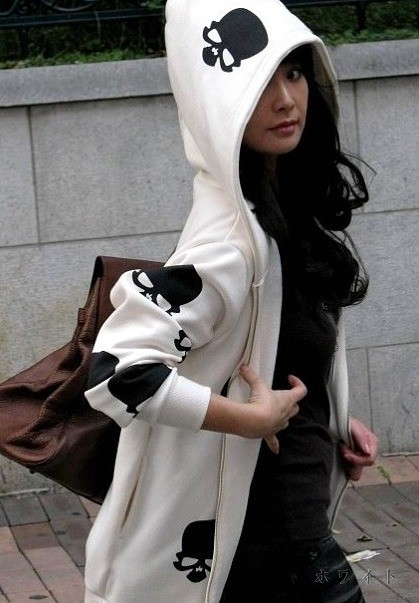【即納】レディース トップス フード パーカー 羽織物 アウター スカル プリント 白 黒 大きいサイズ ゆったり