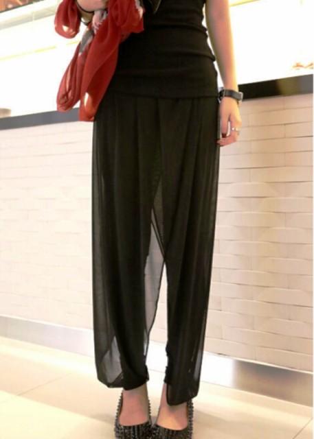 パンツ シフォン レイヤード 透け感 ゆったり ゆるシルエット ブラック シンプル カジュアル 大きいサイズ サイズ豊富 黒 シック 大人か
