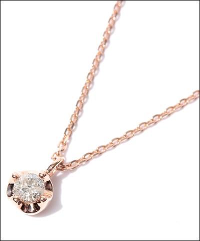 【税込】 4℃ ヨンドシー 0.1ctダイヤモンド ピンクゴールドネックレス, イナザワシ d4424700