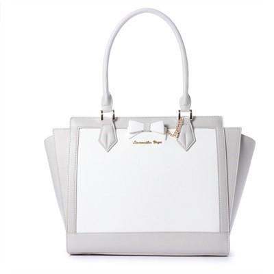 美品  サマンサベガ トートバッグ ホワイトバイカラー リボンパスケース付き L グレー-バッグ