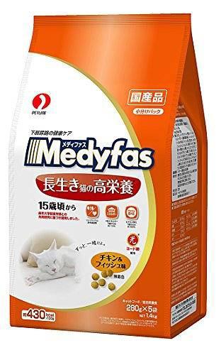 メディファス 長生き猫の高栄養 15歳頃から チキン&フィッシュ味 1.4kg(280g×5) メディファス