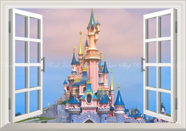 絵画風 壁紙ポスター ディズニーランドの景色 シンデレラ城 パリ 窓
