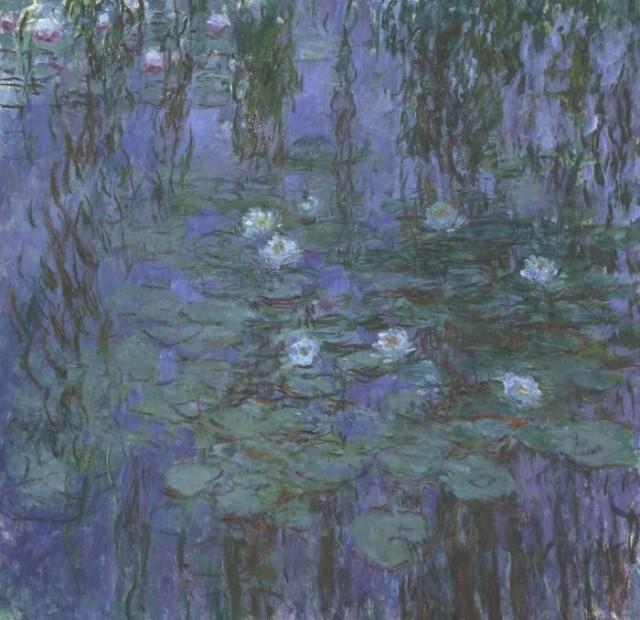 絵画風 壁紙ポスター クロードモネ 青睡蓮 1916 1919年 Blue Water