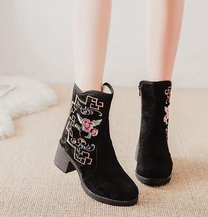 2点送料無料 秋冬 パンプス靴/刺繍靴 婦人靴 中国風ボタン/民族風 ブーツ 綿麻靴/チャイナ靴 手作り北京布靴