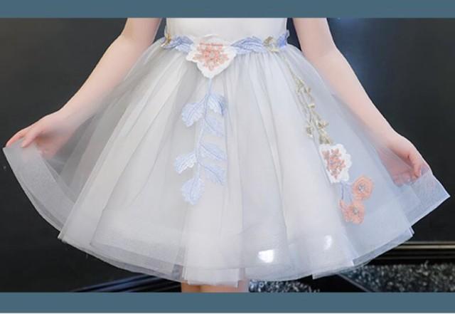 e83f276105324 刺繍 子供ドレス 2点セット 半袖 ワンピース 子供服 チュール 入園式 卒業式 パーティー