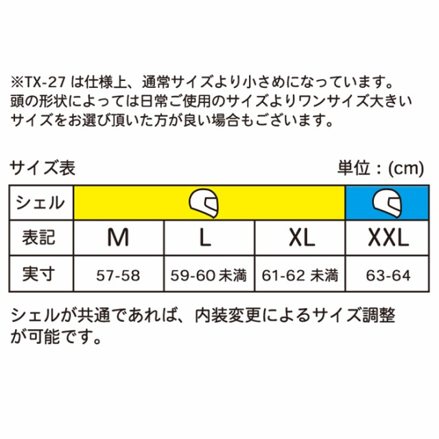 TX-27サイズ表