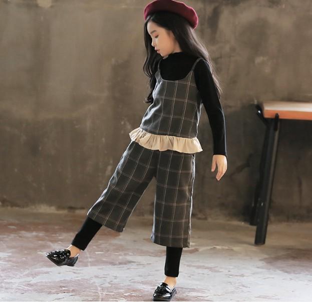 65ac54dcae9a2 子供服 チェック 3点セットシャツ+ キャミソール+長ズボン 黒トップス 春秋 女の子
