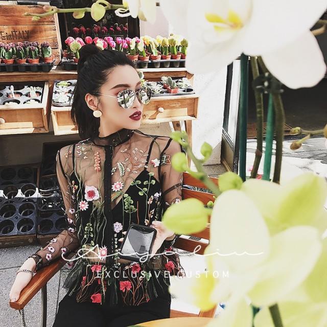シースルー 花柄刺繍 トップス