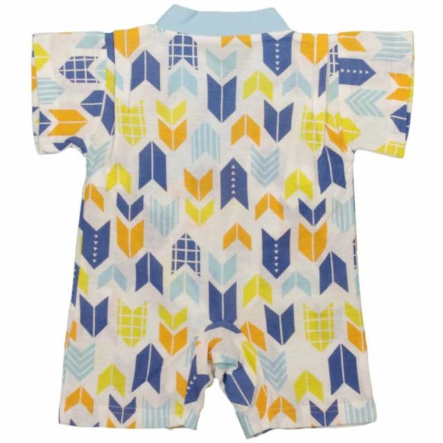 205567c3b7fbb 男の子ベビー甚平風パジャマ 矢柄 和柄 ロンパースパジャマ 梨地 半袖パジャマ男児 赤ちゃん サックス