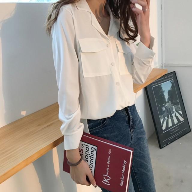 【2018春新作】Vネック ブラウス 無地 シャツ シンプル ポケット カジュアル 着やせ オフィス シック 夏 通勤 デート
