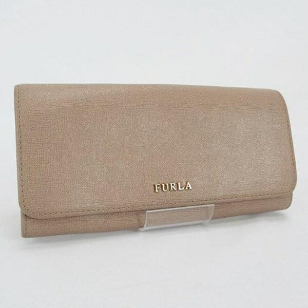 52b4e8645fa1 フルラ 二つ折り長財布 ベージュ 中古 FURLA レディース シンプルネコポス送料無料
