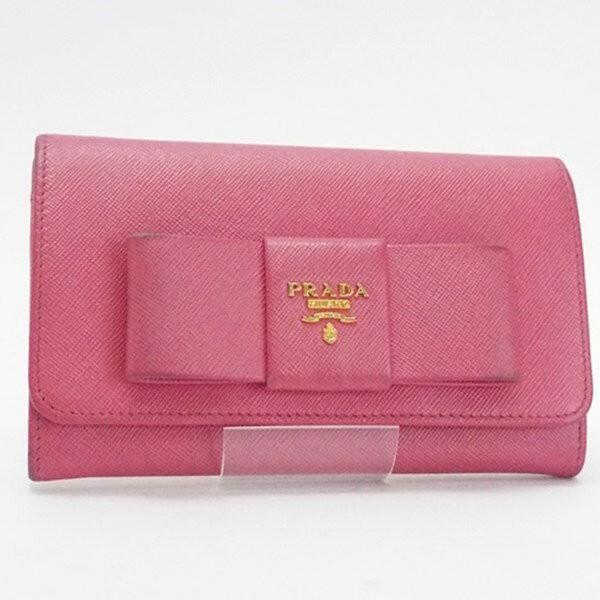 1db2916ad8b8 プラダ 二つ折り財布 ミディアム財布 サフィアーノ ピンク リボン 1M1438 中古 PRADA レディース