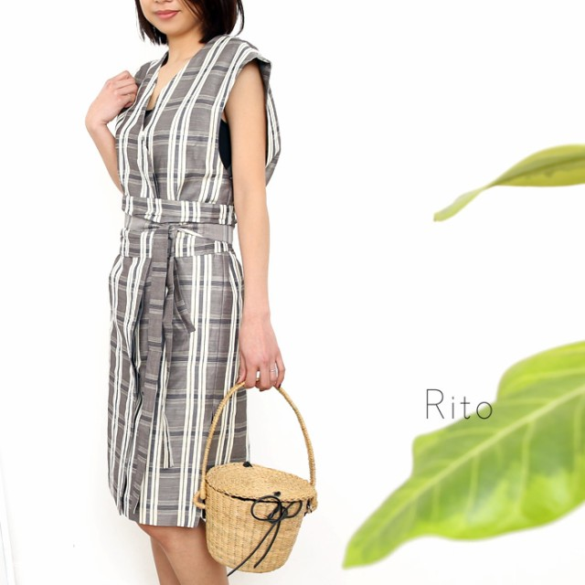 **【18SSコレクション】Rito〔リト〕0778RTS715ACHECK LONG GILET DRESS WITH CUMMER BELT/チェックロングジレワンピース