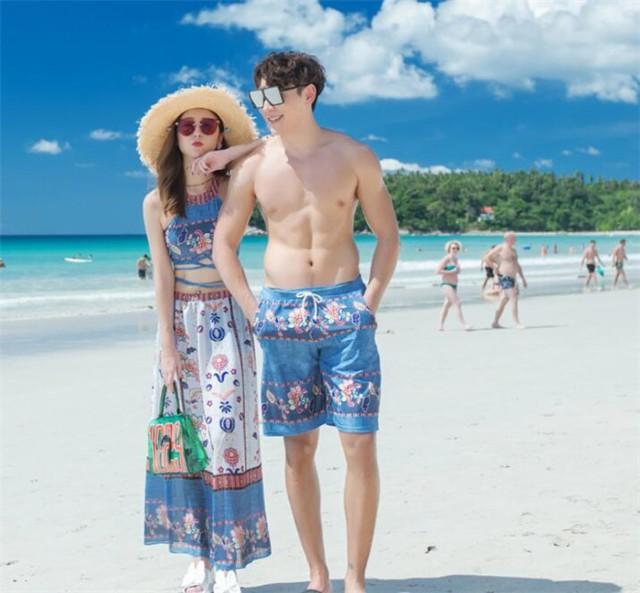 ペア 水着 カップル 体型カバー ボヘミア風 ペアルック レディース メンズパンツ 水着 ビキニ 海水浴 旅行 水着 ビーチ