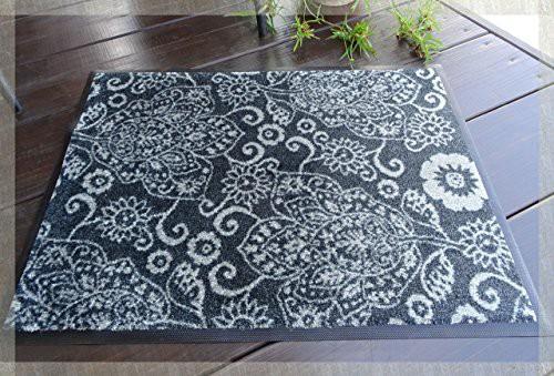 ナイロン製 玄関マット 泥落としマット 「バローネ」 52cm×70cm ブラック×グレー