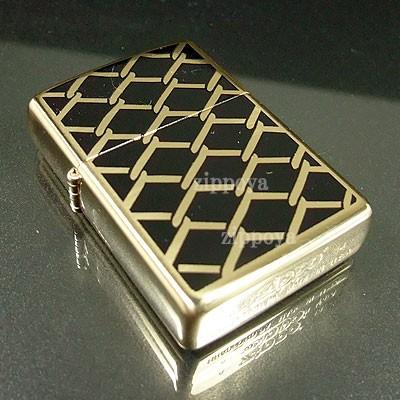 【ZIPPO】ジッポ  FENCE DESIGN フェンス High Polish Brass(鏡面)金色 内部のユニット彫刻無料 28675
