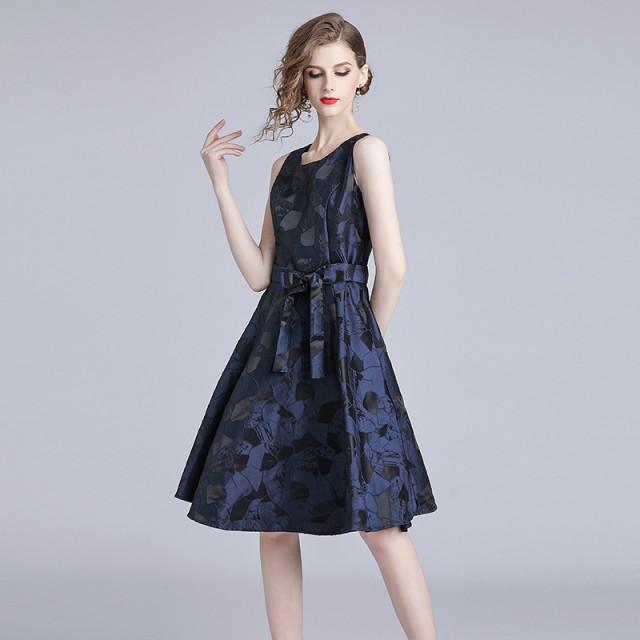 パーティー ドレス ノースリーブ ひざ丈 ジャガード 刺繍 結婚式 お呼ばれ ワンピース 二次会 袖なし mme4654