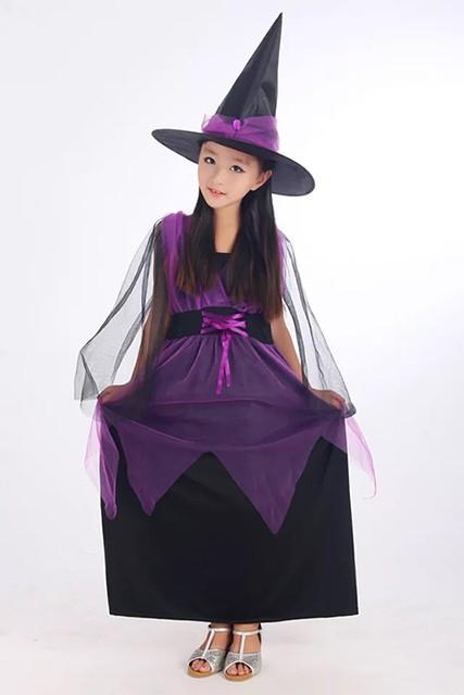 0707510c7461b クリスマス プレゼント 魔女 ウィッチ 紫 ロングドレス コスチューム コスプレ キッズ 女の子