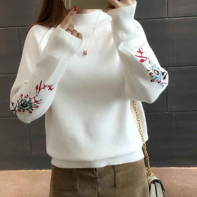 刺繍花柄 ニットセーター 6カラーA/W