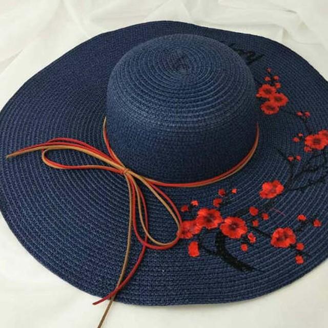 ハット つば広 帽子 麦わら帽子 ストローハット レディース 大きいサイズ 刺繍 お花 日よけ 女優帽 UVカット 夏 ギフト