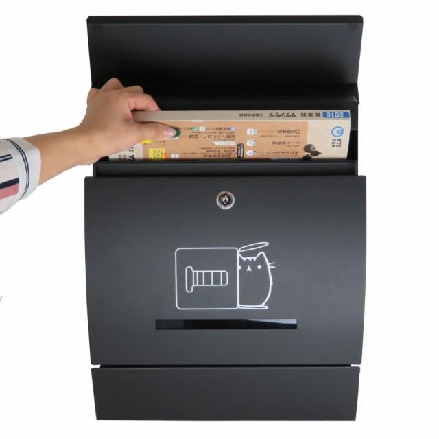 郵便ポスト郵便受け飾りバー付スタンド型メールボックスマグネット付きブラック黒色猫柄ポストpm06f-pm196
