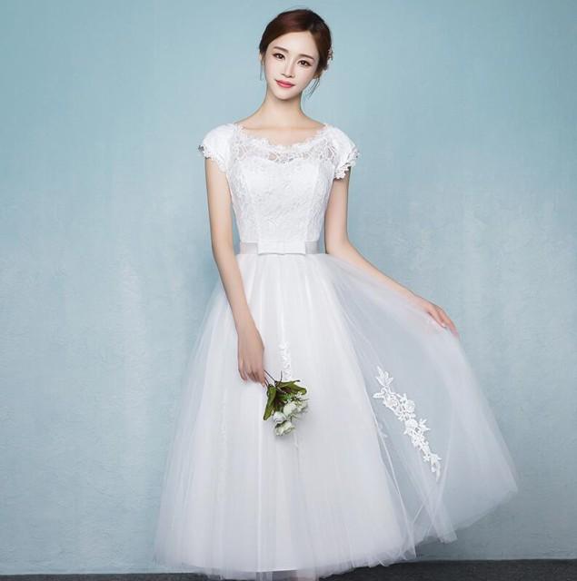 9b68710f5ca6e ミモレ丈ドレス ウェディングドレス ミモレ丈 レース 結婚式 白ワンピース 二次会 花嫁 編み上げタイプ