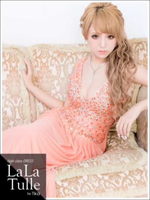 LaLaTulle (M) ゴージャスビジュートッププリーツロングドレスキャバドレス ドレス キャバ ララチュール
