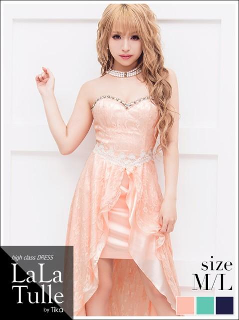 a955878d200da LaLaTulle (M L) レースデザインロングテールミニドレス ピンク ネイビー ミント ドレス