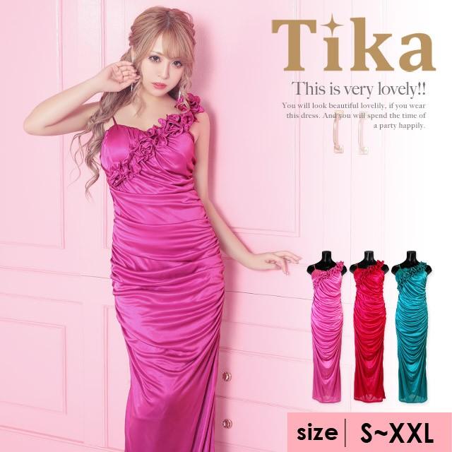 サテン生地フリルタックデザインロングドレス [ キャバ キャバドレス キャバ嬢 キャバクラ ドレス S~XXLサイズ 大きいサイズ Tika  ティカ|au Wowma!(ワウマ)