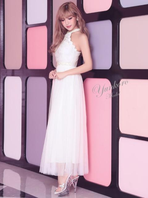 Tika ティカ 胸元透け刺繍レースホルターネックロングドレス (ホワイト/レッド/ブラック) (Mサイズ)