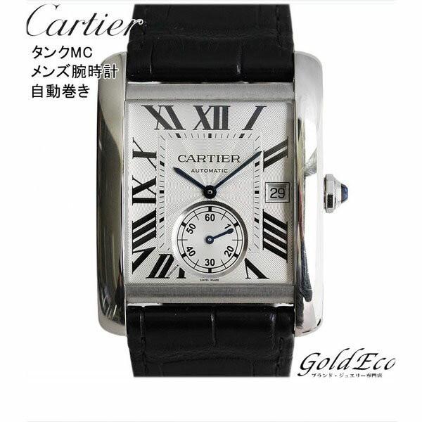 new product 4002f 9d874 【中古】Cartier カルティエ タンクMC メンズ腕時計 レザーベルト ブラック シルバー文字盤 スケルトンバック スモールセコンド ス|au  Wowma!(ワウマ)