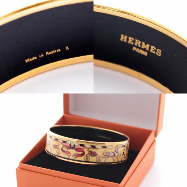 buy online 479db f8ae6 【中古】HERMES エルメス エマイユGM ブレスレット バングル レディース クリーム ゴールド アクセサリー