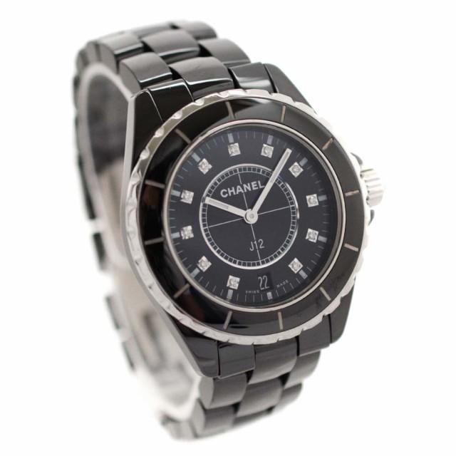 low priced ab64c 581ce 【中古】CHANEL シャネル J12 38mm 11Pダイヤ 腕時計 メンズ クオーツ ブラック文字盤 ブラック H2124