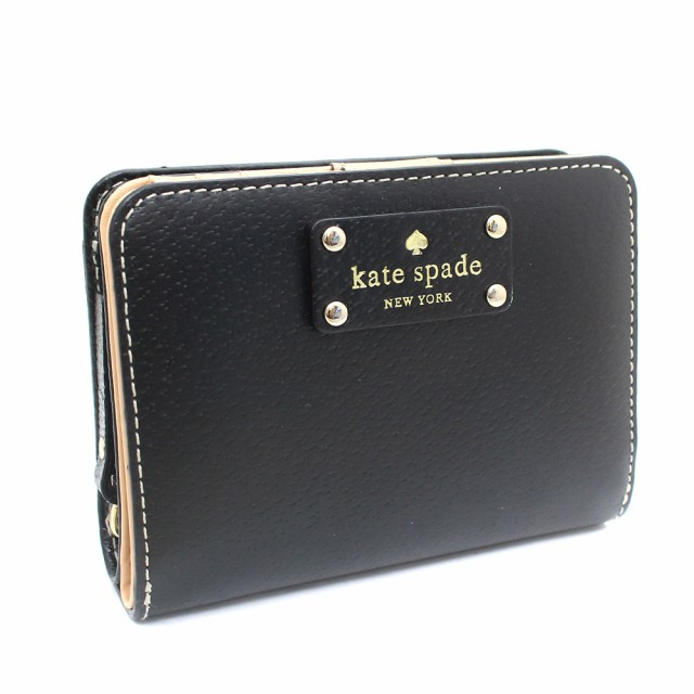 online store b87b8 cfe82 【中古】Kate Spade ケイトスペード 二つ折り財布 レディース ブラック レザー