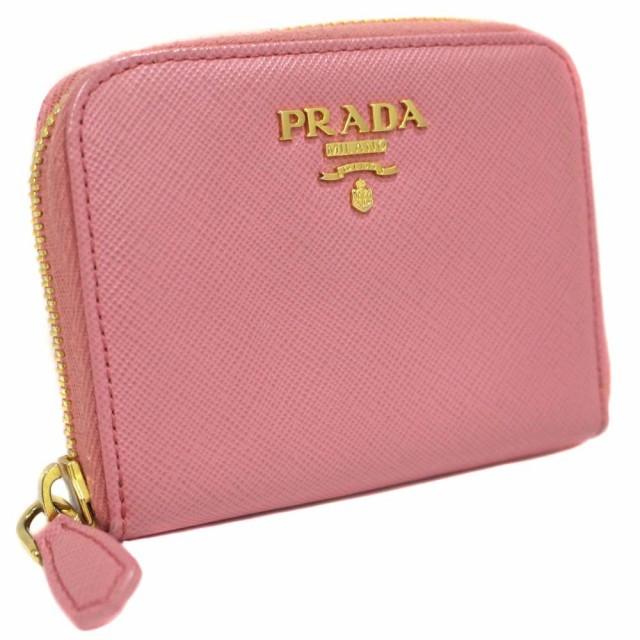 本物の レザー コインケース レディース ピンク ラウンドファスナー 1M0268 【】PRADA プラダ-財布
