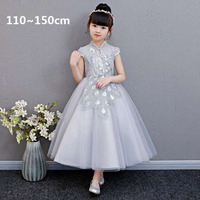 1349c4393628c 110~150cm 子供ドレス チャイナドレス 刺繍 きれいめ パーティードレス 結婚式 女の子 発表