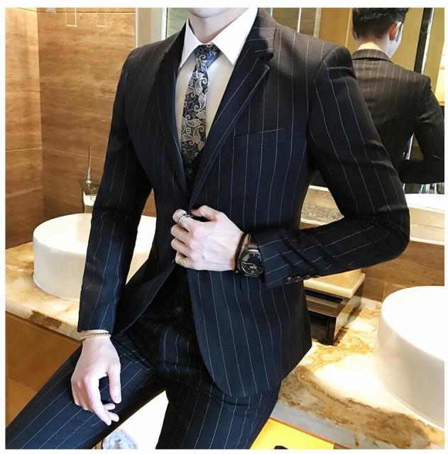 スリーピース スーツ メンズ ビジネススーツ セットアップ 結婚式 ストライプ 3ピーススーツ カジュアルスーツ 細身 3点セット|au  Wowma!(ワウマ)