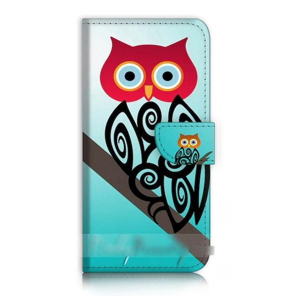 【】 スマホケース 手帳型 ふくろう フクロウ 梟 抽象画 USBケーブル付 保護フィルム付 iPhone Galaxy iPod iPad