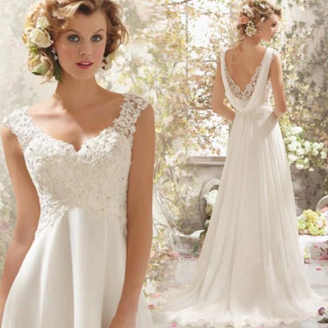 211ae4dbd22fd 結婚式ワンピース お嫁さん 豪華な ウェディングドレス 花嫁 ドレス エンパイア Vネック ビスチェタイプ