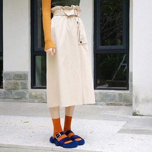 【お取り寄せ】ボタン付 フレア ロング スカート